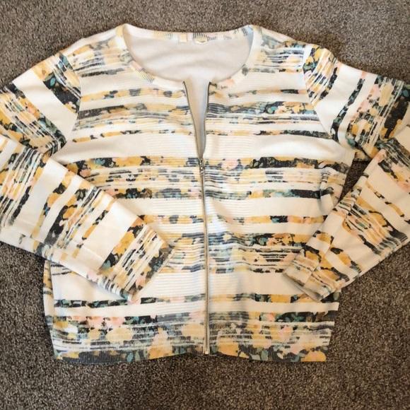 Moth Floral Print Zip Uo Sweater